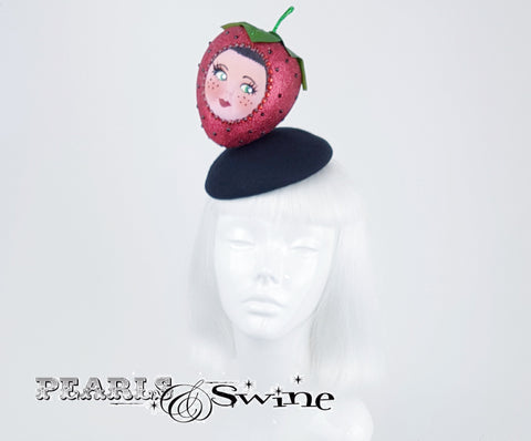 Glittering Strawberry Doll Face Hat