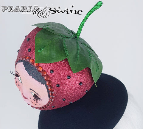 Glittery doll face strawberry hat