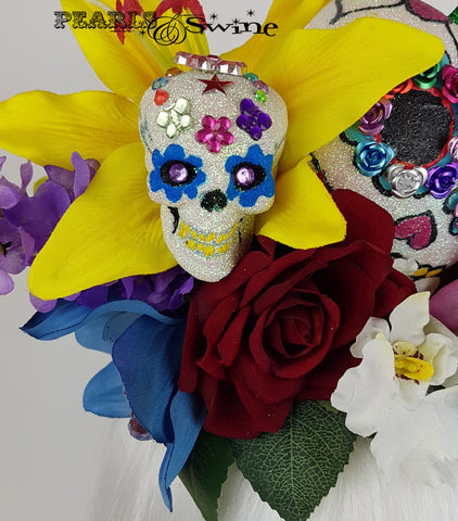 Giant Cherry Sugar Skull Hat, unusual hats for sale UK