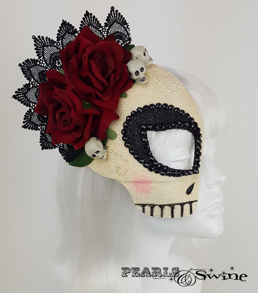 lace sugar skull day of the dead mask headpiece