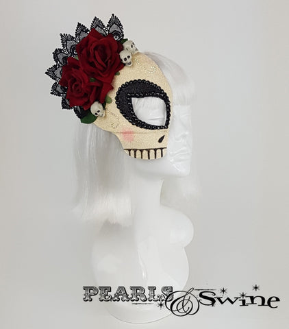 glitter sugar skull day of the dead mask
