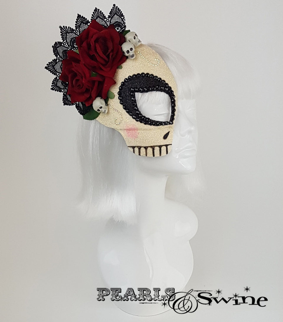 glitter sugar skull day of the dead half mask fascinator
