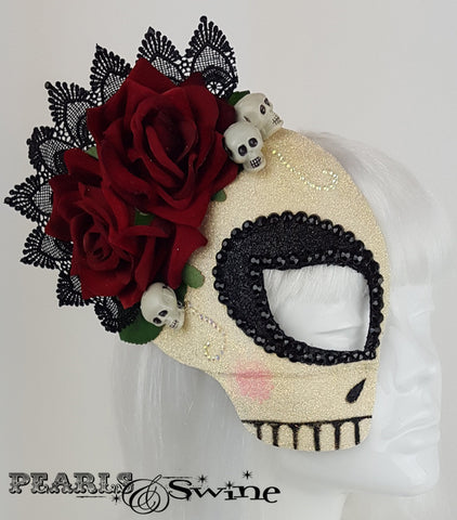 glitter crystals sugar skull day of the dead mask headpiece