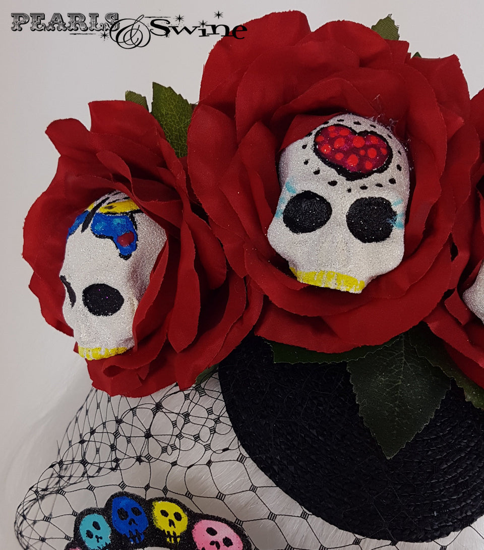 Sugar Skull Veiled Headdress, unique hats UK