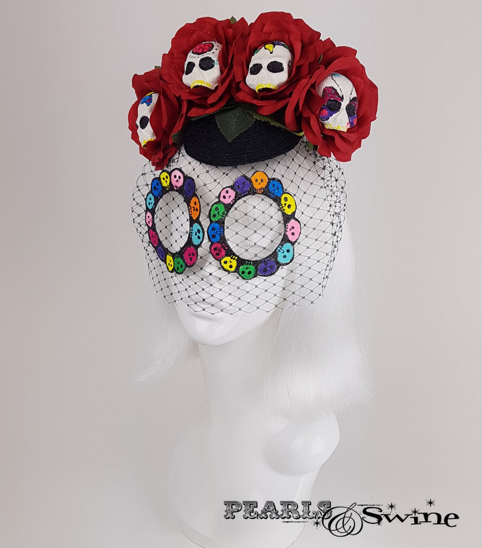 Sugar Skull Veiled Headdress, quirky hats UK