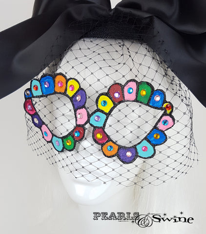 Black Veiled Mask Fascinator, sugar skull headpiece
