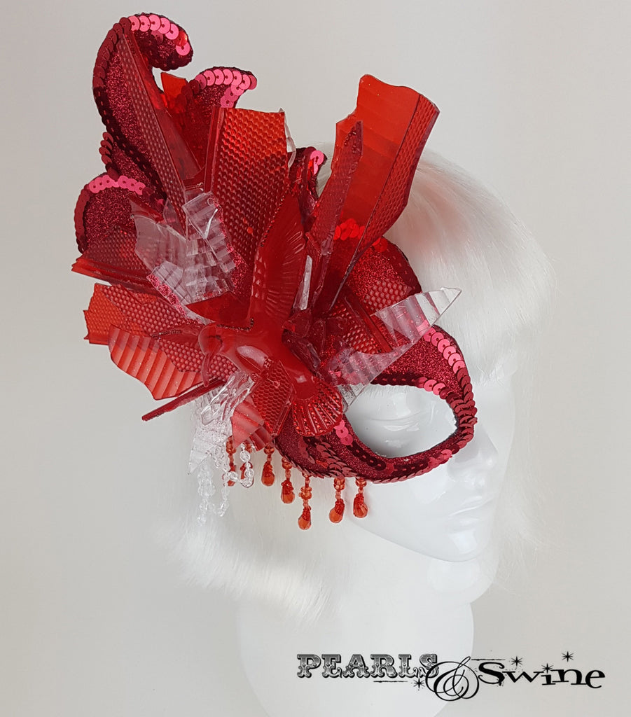 wearable art red half mask headpiece UK