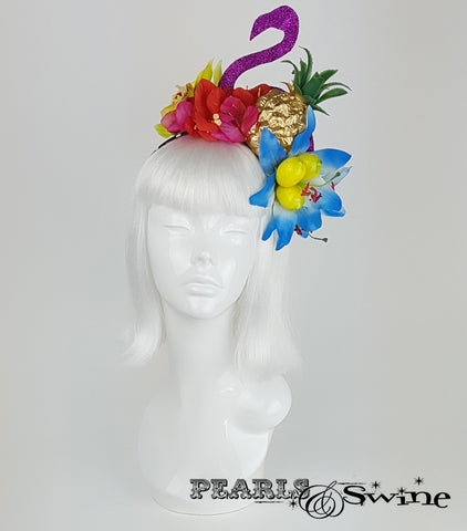 Tropical Fruit Flamingo Flower Headdress, hat for sale UK