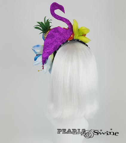 Tropical Fruit Flamingo Flower Headdress, rock & roll bridal headpiece