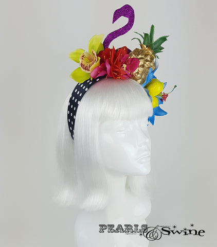 "Tropical Fruit Flamingo Flower Headdress ""Tempête Tropicale"""