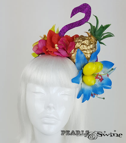 Tropical Fruit Flamingo Flower Headdress, British millinery
