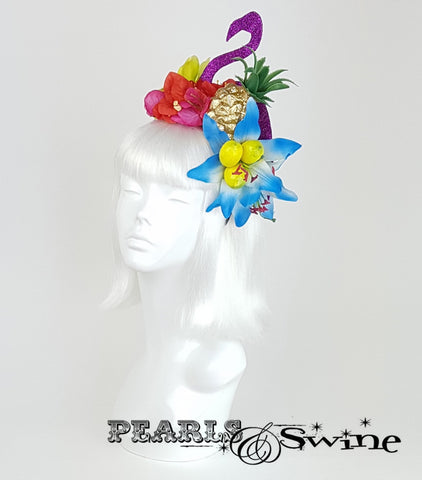 Tropical Fruit glitter Flamingo Flower Headdress, Royal ascot hats