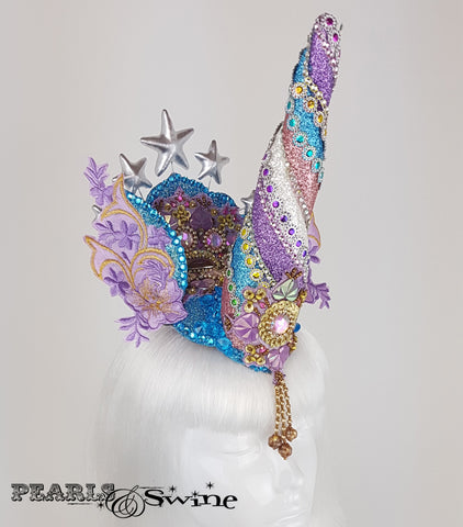 glitter blue pink unicorn surreal headdress