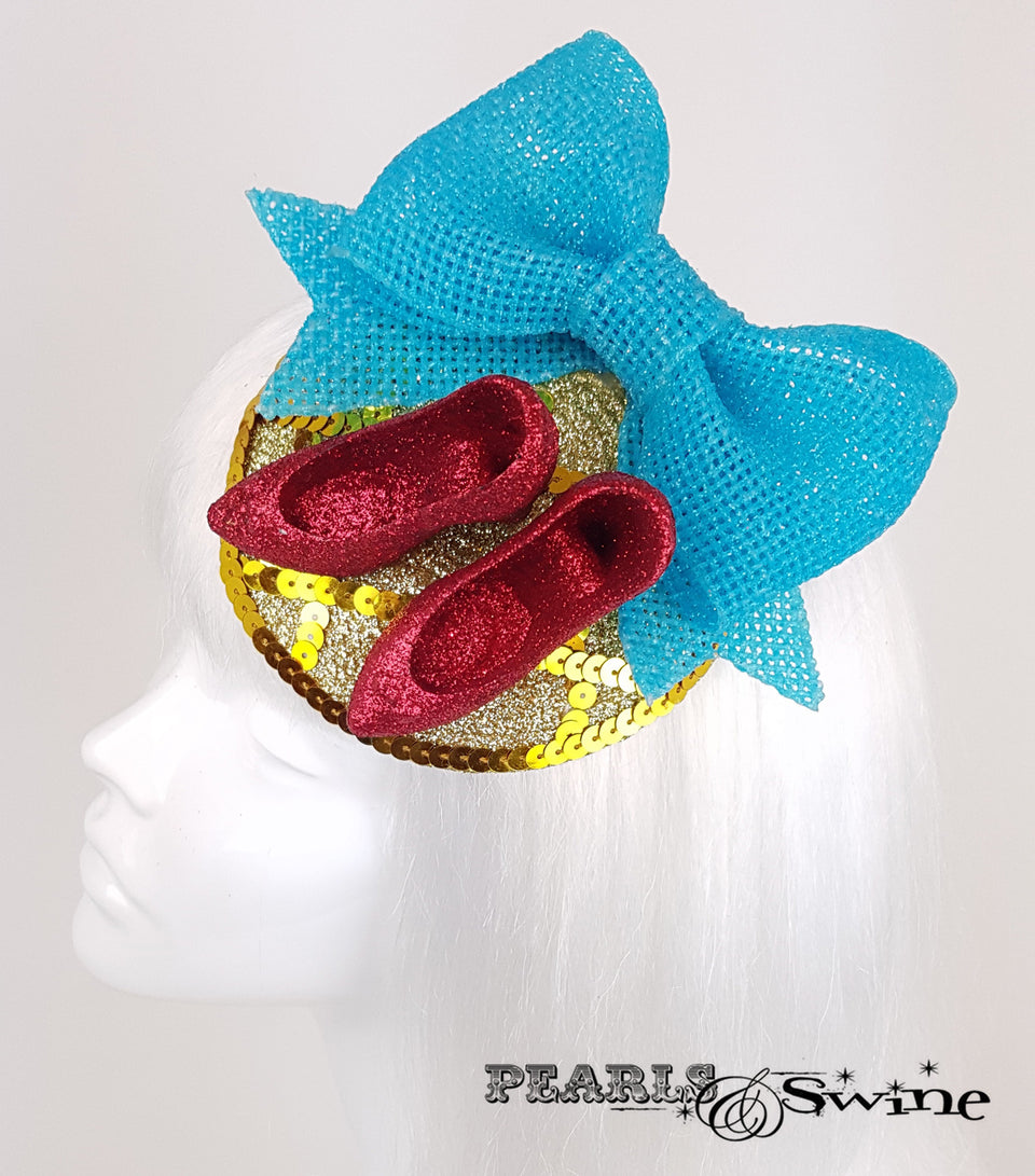 Wizard of Oz Ruby Slippers yellow brick road inspired fascinator