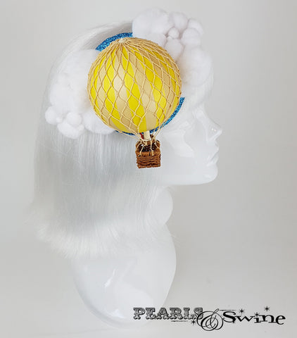 yellow hot air balloon glitter headpiece