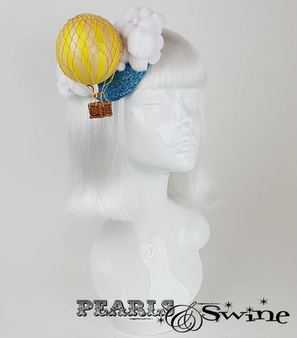 yellow hot air balloon glitter fascinator for sale UK