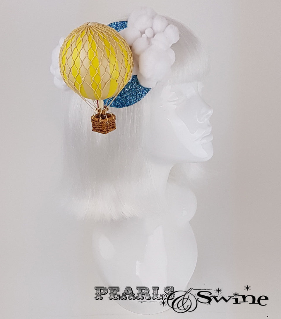 yellow hot air balloon glitter surreal headpiece