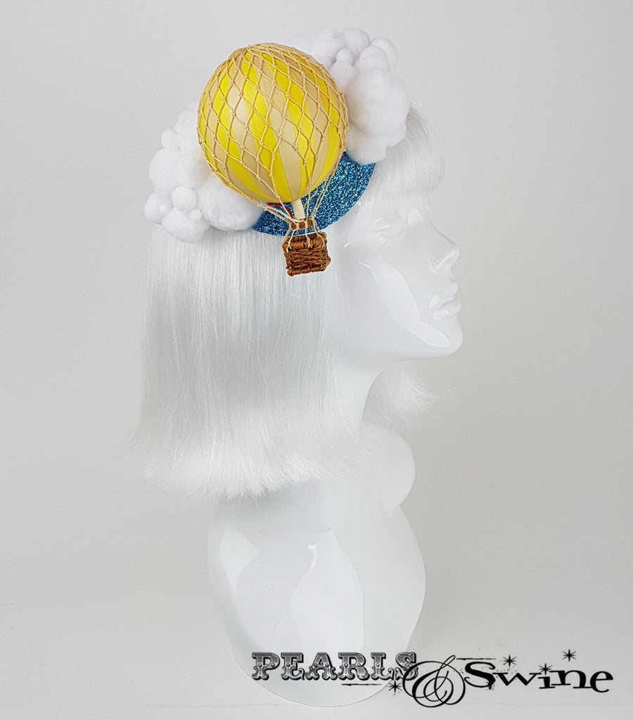 yellow hot air balloon glitter fascinator