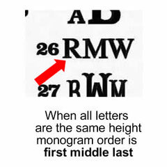 When Ordering Give Us The 3 Letter Monogram EXACTLY As It Will Appear On Item Please Note That We Do Not Rearrange Letters Of A After You