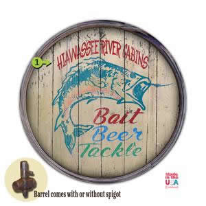 Personalized Barrel End Bait Beer and Tackle Sign