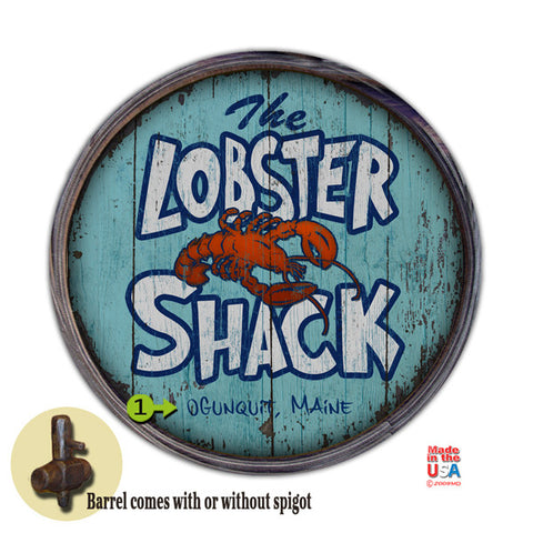 Personalized Barrel End Lobster Shack Sign
