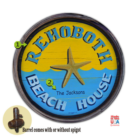 Personalized Barrel End Starfish Beach House Sign