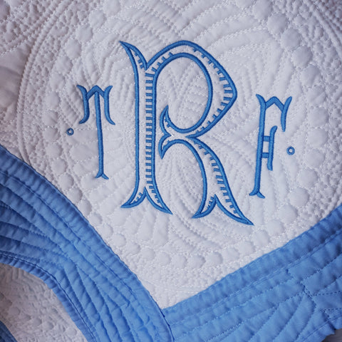 monogrammed heirloom baby quilt Pretty Personal Gifts