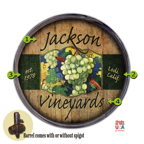 Personalized Barrel End Vineyard Sign
