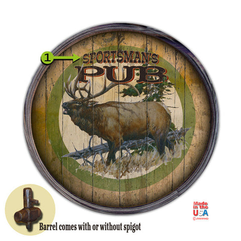 Personalized Barrel End Sportsman's Pub Sign
