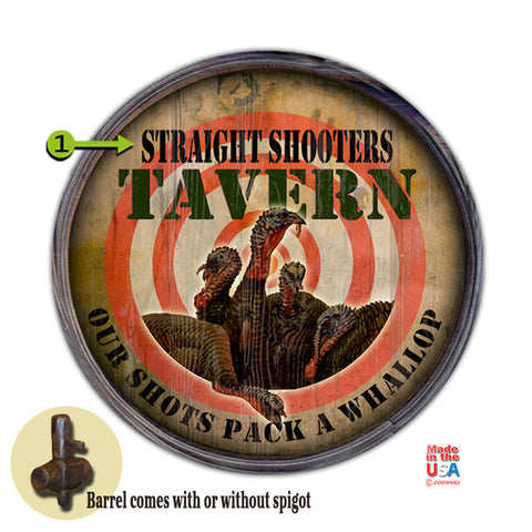 Personalized Barrel End Straight Shooters Turkey Sign
