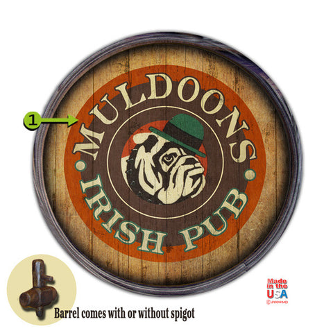 Personalized Barrel End Bulldog Irish Pub Sign