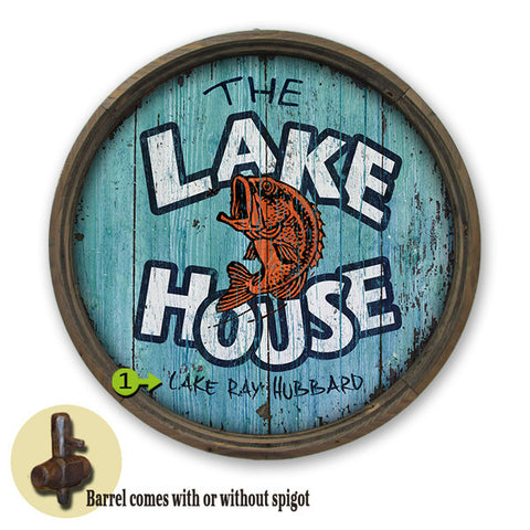 Personalized Barrel End Lake House Sign