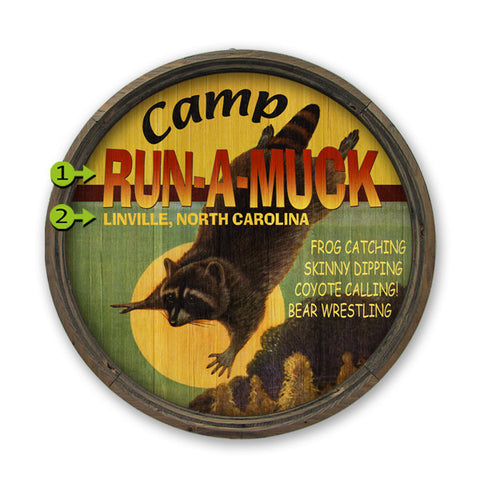 Personalized Barrel End Camp Run A Muck Lake Sign