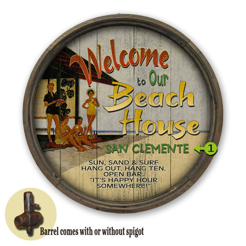 Personalized Barrel End Welcome to our Beach House Sign
