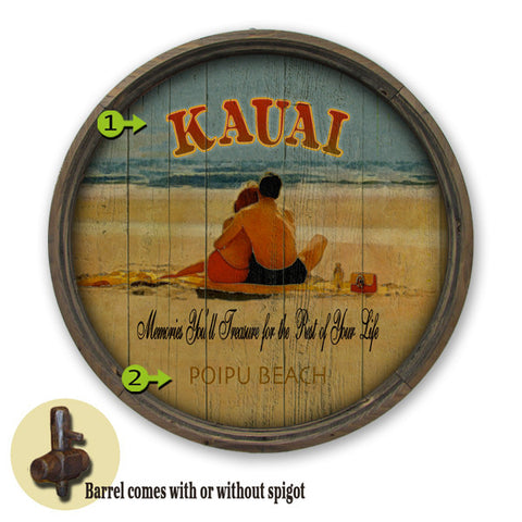 Personalized Barrel End Couple on Beach Sign