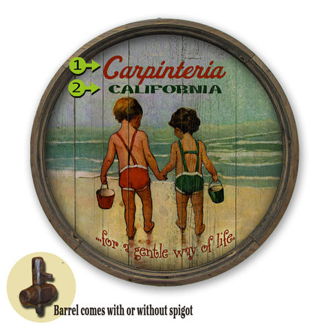 Personalized Barrel End Kids on Beach Sign