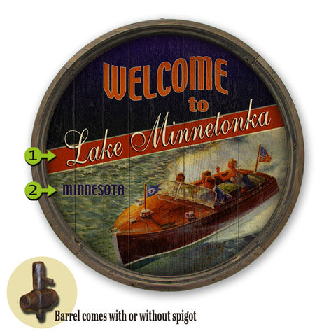 Personalized Barrel End Boating Lake Sign