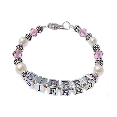 crystal & pearl bracelet for child