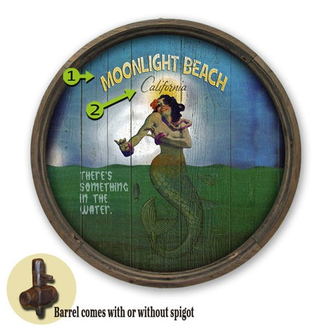 Personalized Barrel End Mermaid in Ocean Beach Sign