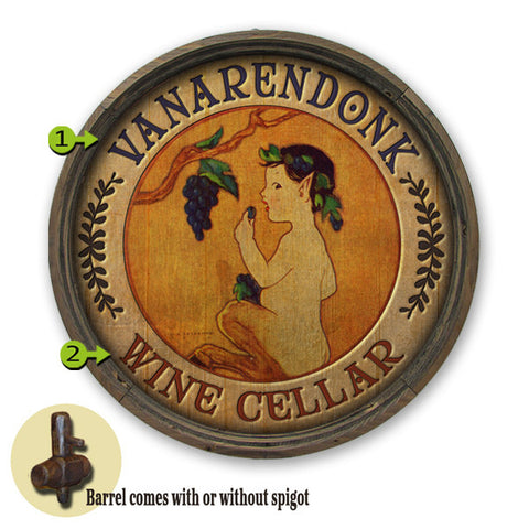 Personalized Barrel End Wine Cellar Sign