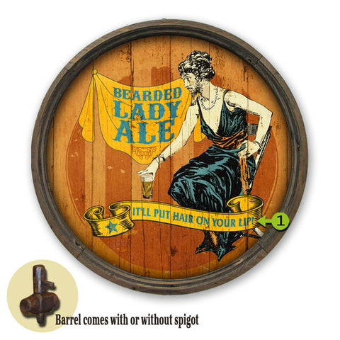 Personalized Barrel End Bearded Lady Beer Sign