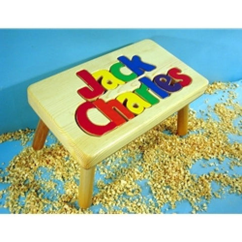 Pleasing Wooden Name Puzzle Stool Ocoug Best Dining Table And Chair Ideas Images Ocougorg