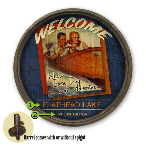 Personalized Barrel End Lake Adventure Sign