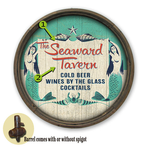 Personalized Barrel End Seaward Mermaid Tavern Sign