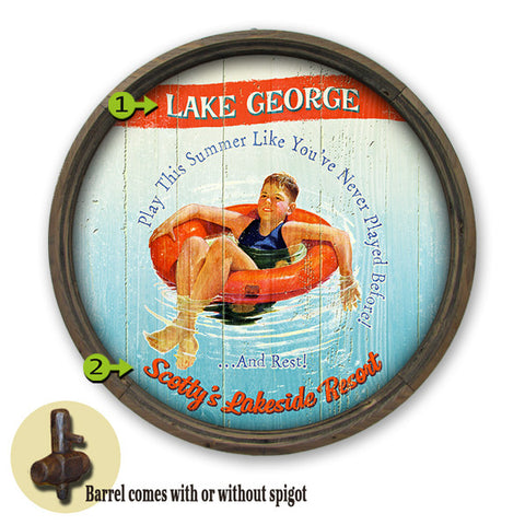 Personalized Barrel Play This Summer Lake Sign