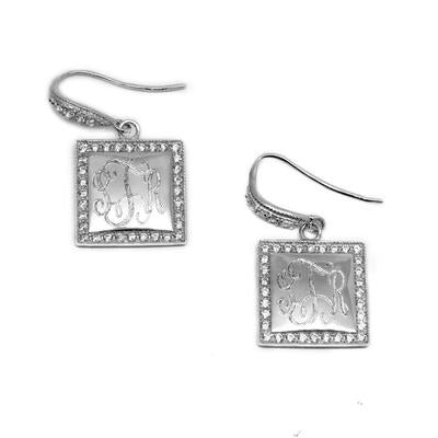 Sterling Silver Square Monogrammed Earrings
