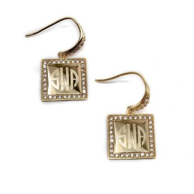 Gold Plated Sterling Silver Square Monogrammed Earrings