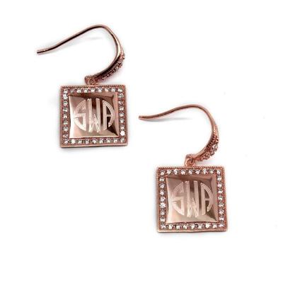 rose gold square monogrammed earrings
