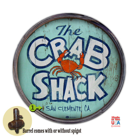 Personalized Barrel End Crab Shack Sign