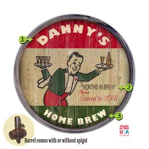 Personalized Barrel End Home Brew Bar Sign